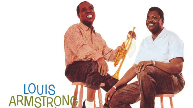 Detail from the cover art to Louis Armstrong Meets Oscar Peterson. (Verve Records)