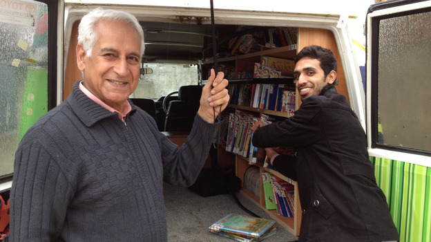 After decades living and working abroad, Saeed Malik (left) returned to his native Pakistan and wanted to do something to help rectify what he saw as a poor education system. He founded the Bright Star Mobile Library, which now serves about 2,500 children. (NPR)
