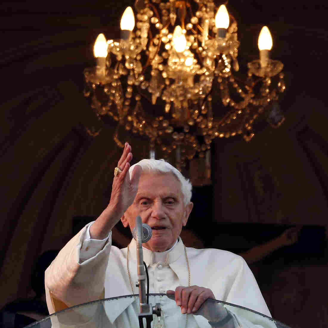 A final blessing: Pope Benedict XVI as he blessed those gathered outside his summer residence in Castel Gandolfo on Thursday. He's not expected to make any more public appearances.
