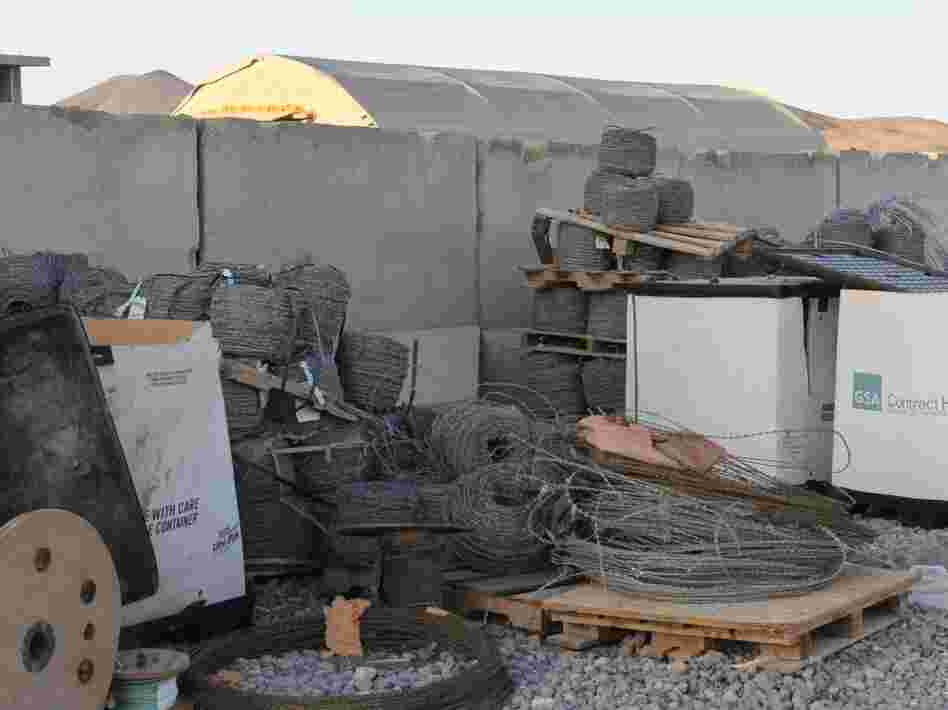 Surplus razor wire is seen at the scrap yard on the base. For years units dumped trash and surplus construction materials there, and now the 2-3 Field Artillery has to clear it out.