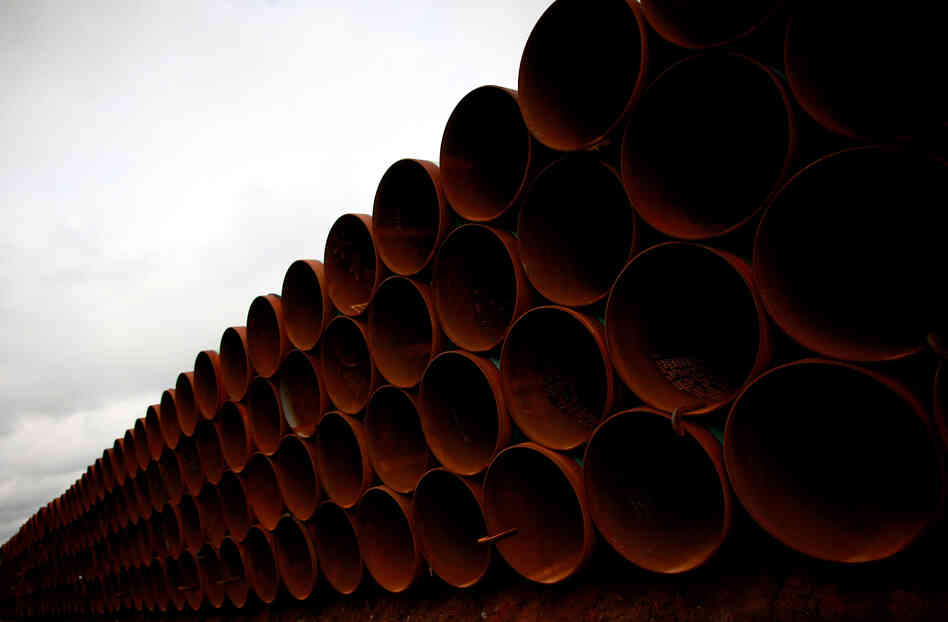 Pipe is stacked at the southern site of the Keystone XL pipeline on March 22, 2012 in Cushing, Oklahoma.