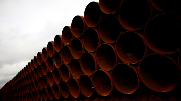 Pipe is stacked at the southern site of the Keystone XL pipeline on March 22, 2012 in Cushing, Oklahoma. (Getty Images)