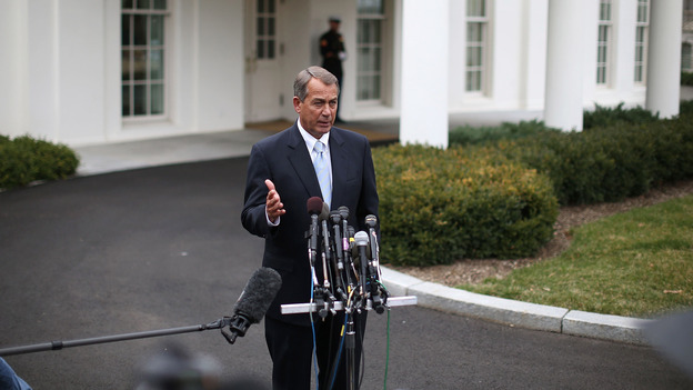 House Speaker John Boehner speaks to the media after a meeting with President Obama on Friday. (Getty Images)