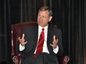 Chief Justice John Roberts, shown here during a presentation last June in Pennsylvania, questioned the U.S. solicitor general about voting statistics during this week's arguments on Section 5 of the Voting Rights Act.