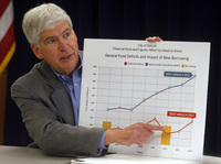 Michigan Gov. Rick Snyder in February displays a chart to illustrate the troubled state of Detroit's finances.