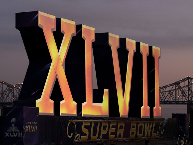 The Roman numerals for NFL Super Bowl XLVII float on the Mississippi River on Feb. 2 in New Orleans.
