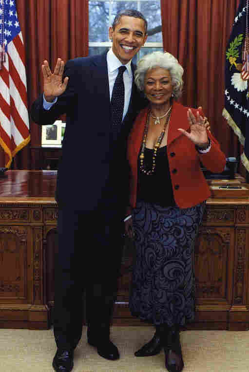 "He does know about ""live long and prosper."" President Obama with actress Nichelle Nichols (Star Trek's Lt. Uhura) in the Oval Office one year ago."