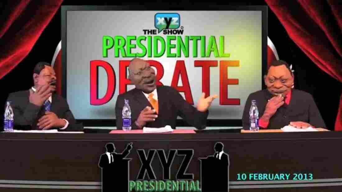 In this screengrab, three puppets debate one another on The XYZ Show's presidential debate, which aired in February.