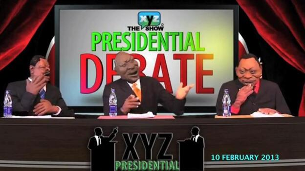 In this screengrab, three puppets debate one another on The XYZ Show's presidential debate, which aired in February. (YouTube)