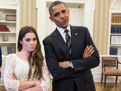 "President Obama and Olympic gymnast McKayla Maroney strike her ""McKayla is not impressed"" pose at the White House in November."