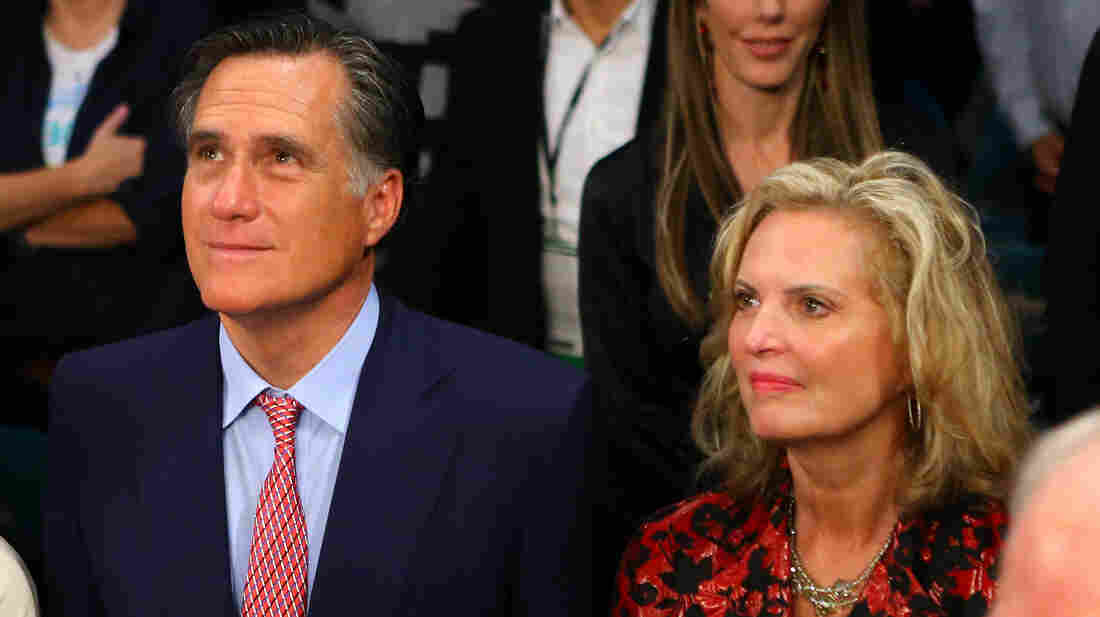 Former Republican presidential candidate Mitt Romney and wife,