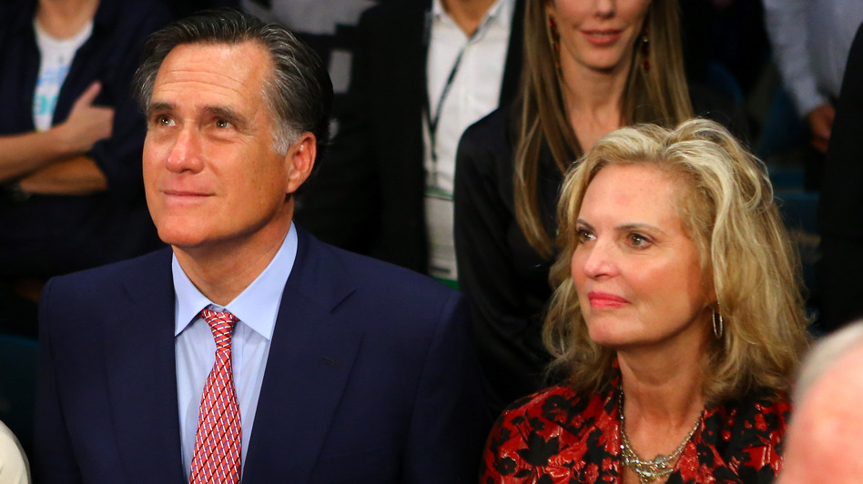 Former Republican presidential candidate Mitt Romney and wife, Ann, at the MGM Grand Garden Arena on Dec. 8, 2012, in Las Vegas.