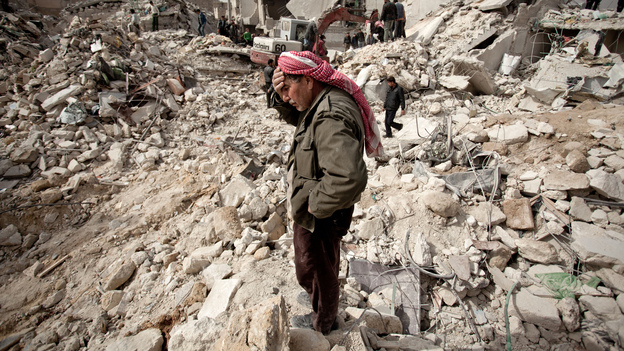 As Aleppo residents in the Tariq al-Bab district recover from this week's attack by Syrian regime forces, delegates from the city are in Turkey holding an election for local officials. (AFP/Getty Images)