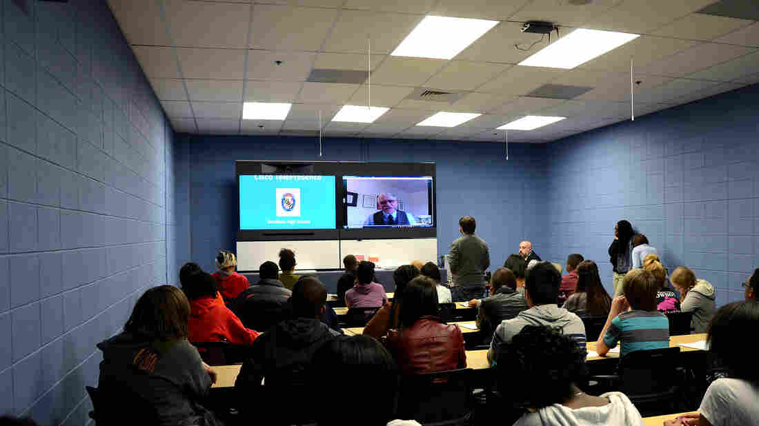 Students at Westlake High School in Waldorf, Md., participate in an interactive digital conversation with historian Kenneth C. Da