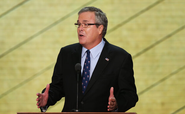 Former Florida Gov. Jeb Bush speaks during the Republican National Convention in August in Tampa, Fla.