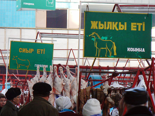 Signs advertise the type of meat sold in each section of the Green Market in Almaty, Kazakhstan.