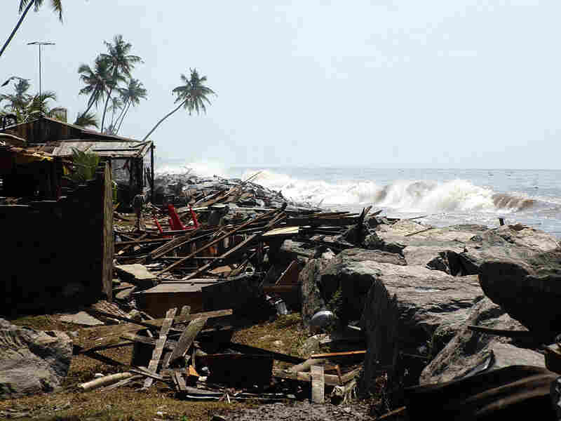 This Dec. 26, 2004, photograph shows a trail of destruction in the southern Sri Lankan town of Lunawa after tidal waves lashed more than half of Sri Lanka's coastline.
