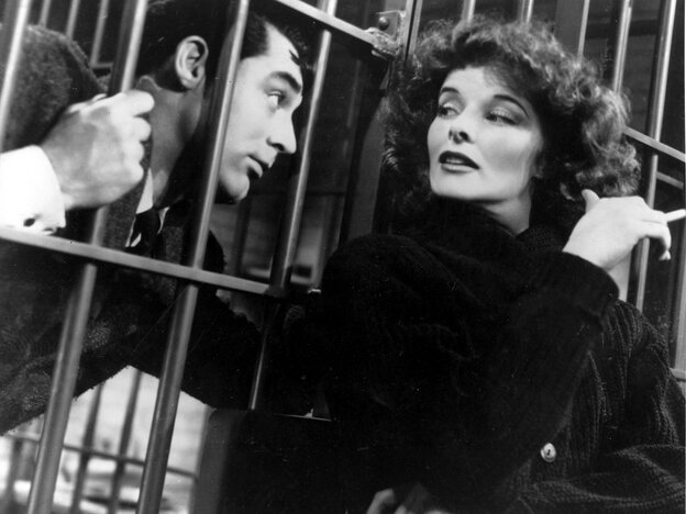 Katharine Hepburn and Cary Grant in Bringing Up Baby.