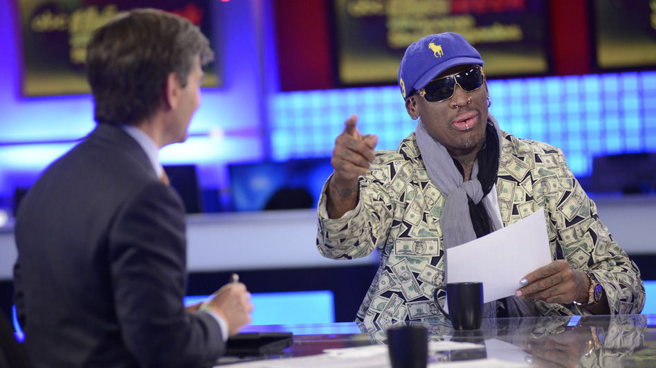 """This Week"" host George Stephanopoulos interviews former NBA star Dennis Rodman, just back from a visit to North Korea. (Associated Press)"