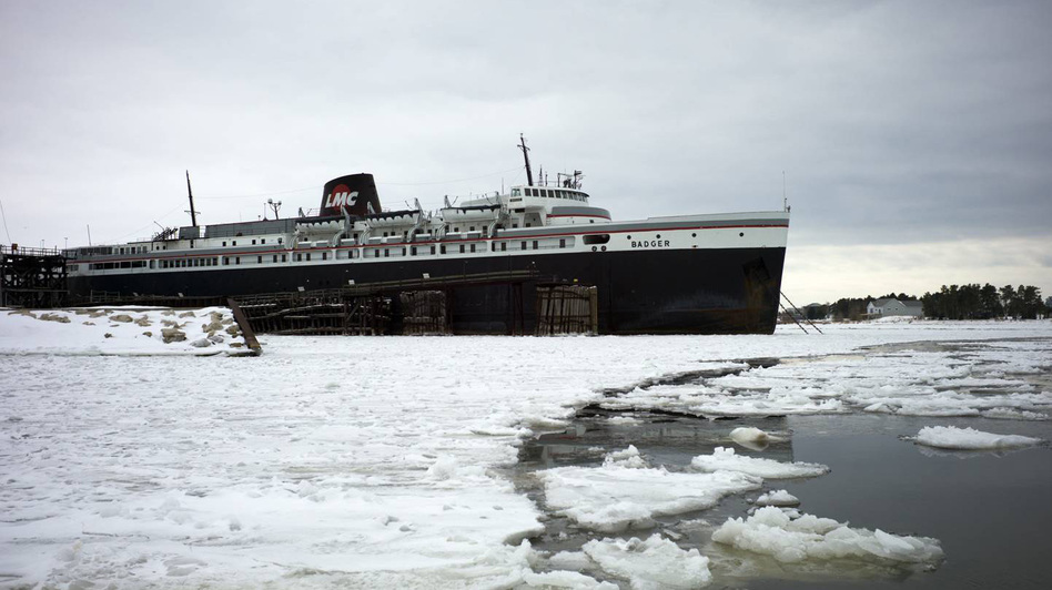 The nation's last coal-burning ferry, the SS Badger, sits on Lake Michigan in the port town of Ludington, Mich. The EPA permit that has long allowed the ship to dump coal ash into the lake is now under review. (Courtesy photo for NPR)