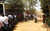 Voters line up in Kibera to vote. Long lines stretched over a mile long in some parts of Nairobi.