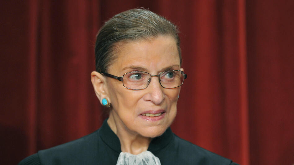 U.S. Supreme Court Justice Ruth Bader Ginsburg poses during a group photo in September 2009 in the East Conference Room of the Supreme Court. (AFP/Getty Images)