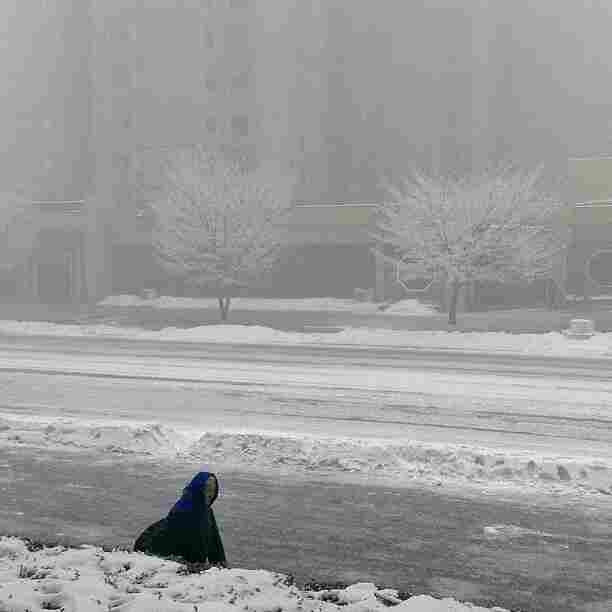 """A North Korean woman walks in snowstorm in #Pyongyang. An iPod touch photo from Jan. 13, 2013."""