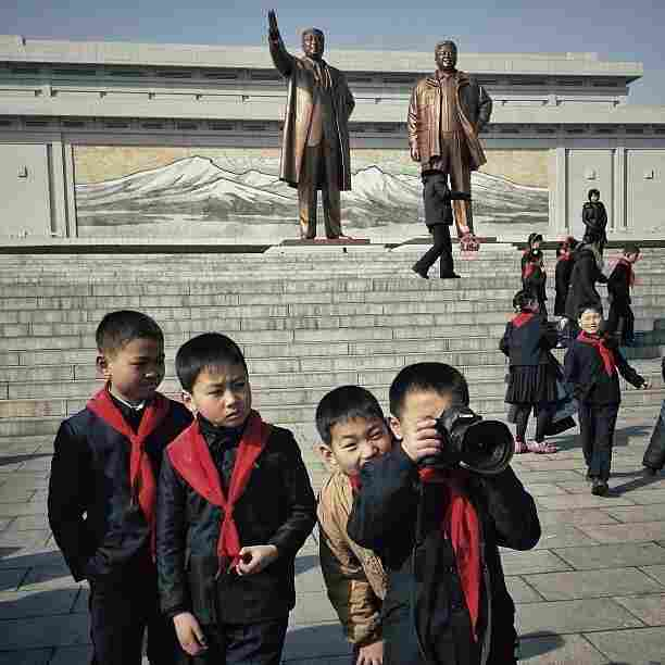 """Posted Feb. 16: """"This little North Korean dude and his school buddies, were playing with one of my cameras this morning at Mansu Hill in #Pyongyang."""""""