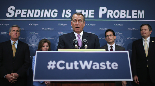 House Speaker John Boehner answers reporters' questions after the weekly House Republican caucus meeting with (from left) Rep. Kevin McCarthy, Rep. Lynn Jenkins, Majority Leader Eric Cantor and Rep. Steve Daines on Tuesday. (Getty Images)