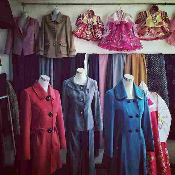 """A dressmaker's window display in #Pyongyang, North Korea."""