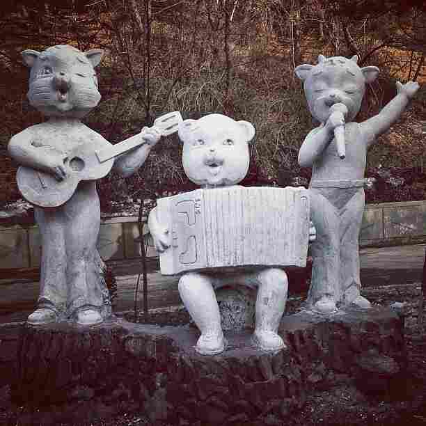 """Album cover band photo. A random statue on a roadside in #Pyongyang, North Korea."""
