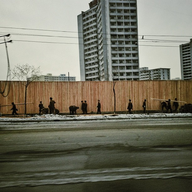 """Construction workers, #Pyongyang, North Korea. iPod touch photo from Jan. 18, 2013."""