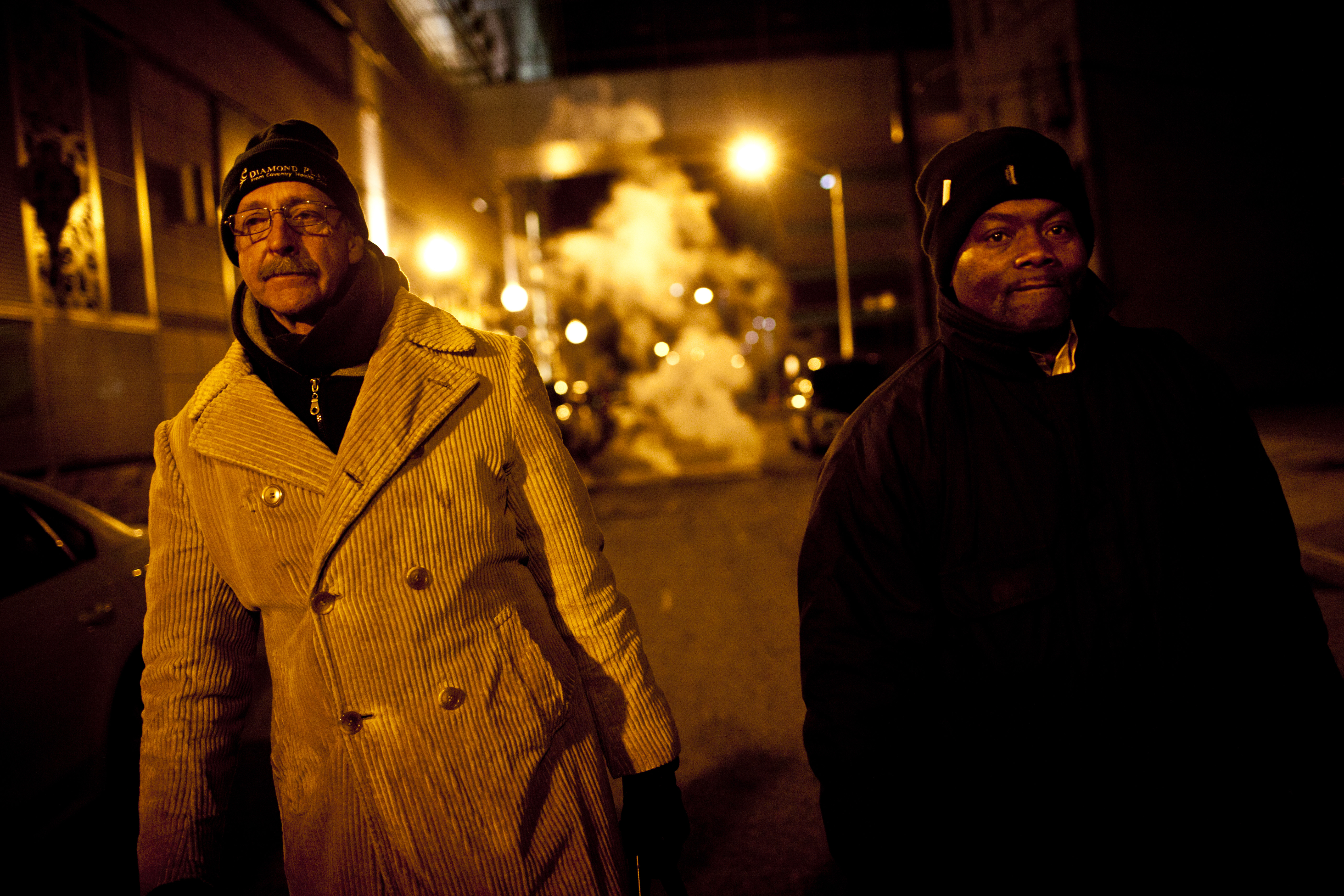 Paul Behler, 59, and Tony Simmons, 51, leave a shelter where residents have to be out at 5 a.m. HCH also cultivates potential advocates still struggling to get back on their feet, like Behler and Simmons.