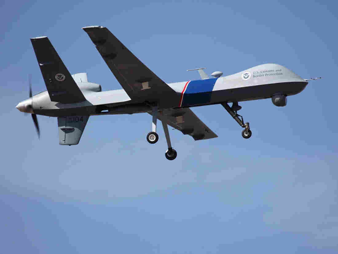 "An unmanned drone patrols the U.S.-Canadian border. Attorney General Eric Holder, in a letter to Sen. Rand Paul, R-Ky., said the president could in an ""extraordinary circumstance"" order a drone strike inside the country."