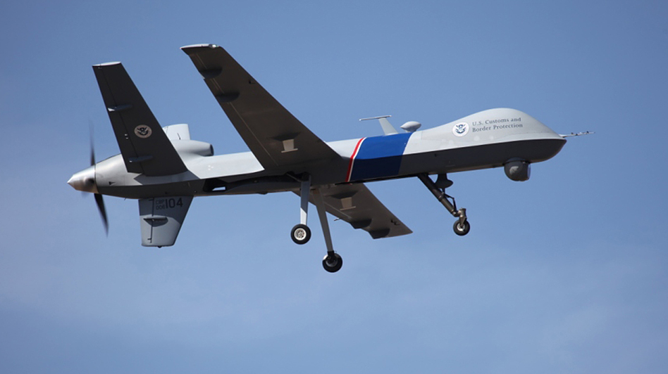 "An unmanned drone patrols the U.S.-Canadian border. Attorney General Eric Holder, in a letter to Sen. Rand Paul, R-Ky., said the president could in an ""extraordinary circumstance"" order a drone strike inside the country. (AP)"