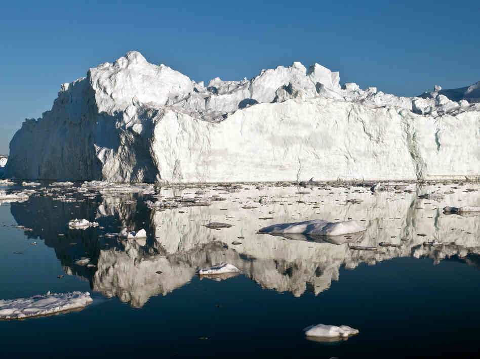 An iceberg in or just outside the Ilulissat fjord, which likely calved from Jakobshavn Isbrae, the fastest glacier in western Greenland, in May 2012. Polar ice sheets are now melting three times faster than in the 1990s.
