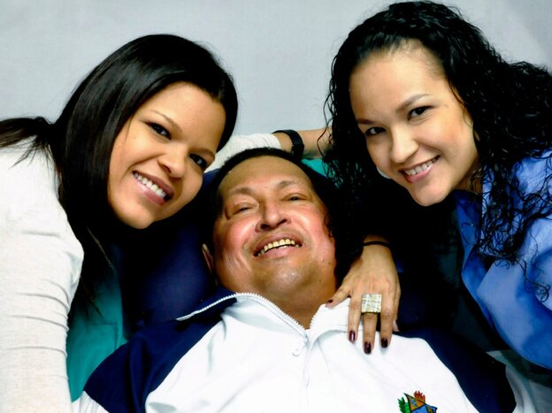 "A ""proof of life"" photo shows Chavez with his daughters, released Feb. 15 by Miraflores Presidential Press Office."