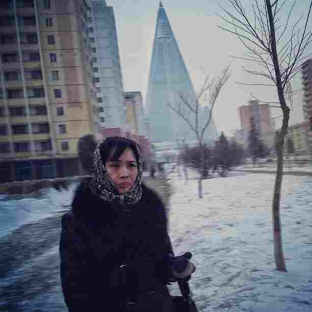 """The yet to be completed 105-story pyramid shaped Ryugyong Hotel can be seen from about anywhere you stand in Pyongyang. The North Koreans started building it around 1987."""