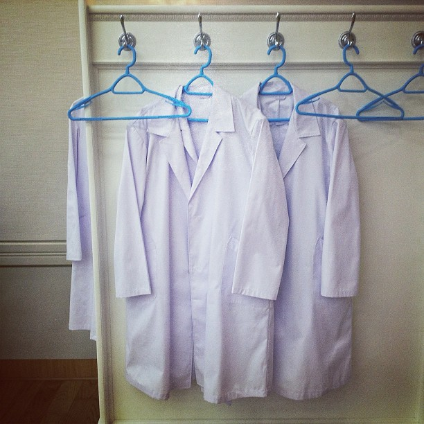 """North Korean lab coats at a #Pyongyang hospital. We came here on this trip to DPRK primarily to do health related stories. Check my website for updates soon when those at published by the Associated Press."""