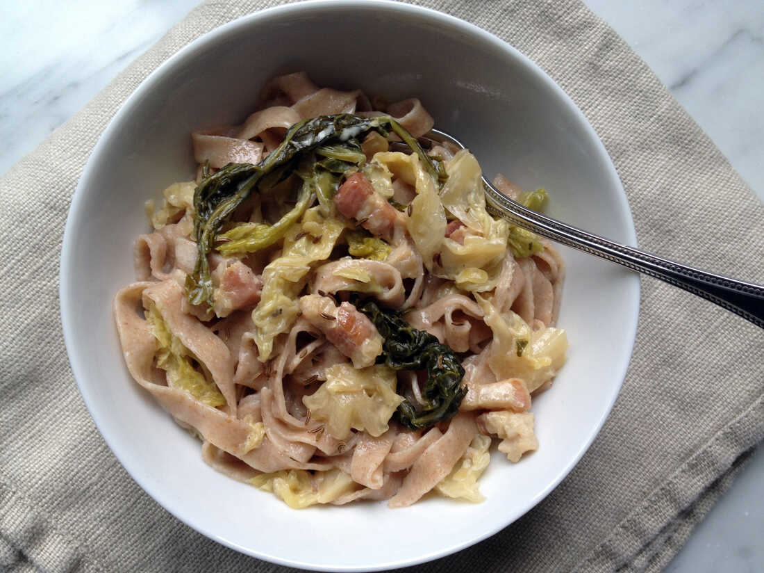 Whole-Wheat Fettuccine With Savoy Cabbage, Cream And Caraway Seeds