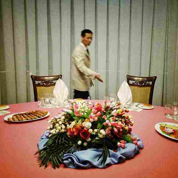 """Banquet seating. #Pyongyang, North Korea. An iPod touch photo from Jan. 15, 2013."""