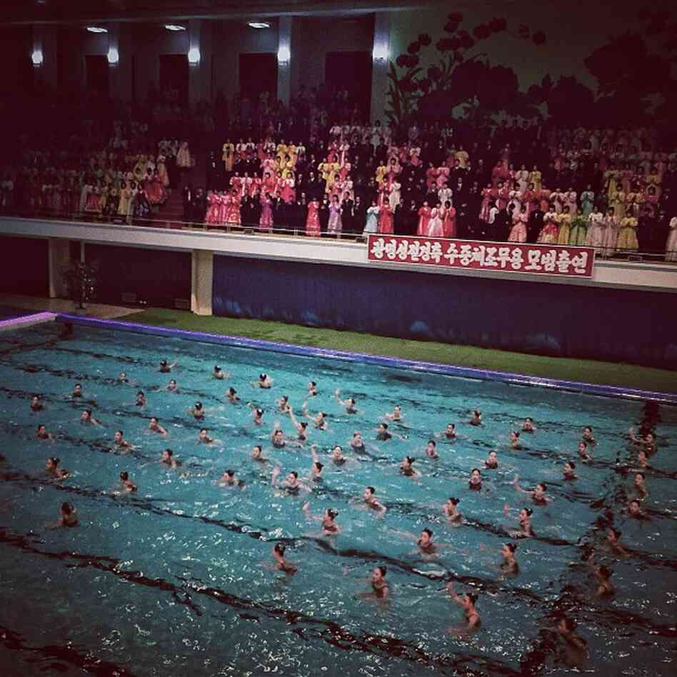 """""""A surreal mass synchronized swimming performance in #Pyongyang, North Korea tonight."""""""