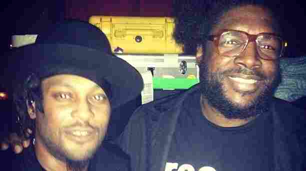 D'Angelo and Questlove on Monday night at Brooklyn Bowl.