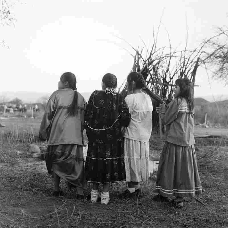 Evans was assigned to photograph Kickapoo Native Americans living in Nacimiento, Mexico — and to listen to, but not see or attend, a ceremonial dance for the women. These girls were dressed up for the celebration.
