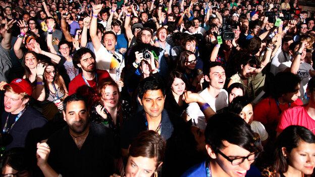 A crowd dances at Dan Deacon's 2012 SXSW performance.