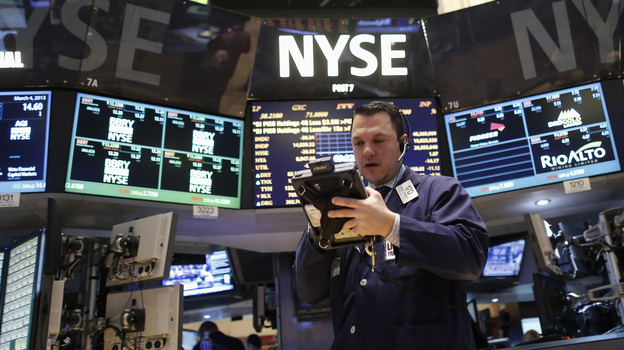 A trader on the floor of the New York Stock Exchange earlier this week. (Reuters /Landov)