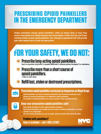 Posters like this one tell patients in New York City emergency rooms what to expect when it comes to painkiller prescriptions.