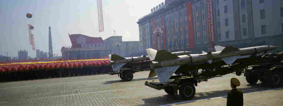 North Korean rockets roll past civilians at a military parade in Pyongyang, celebrating 100 years since the birth of the late North Korean founder Kim Il Sung, April 15, 2012.