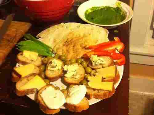 From KF in Champaign, Ill.: Baba ghanoush, a spicy cilantro chutney with bread, and veggies for dipping