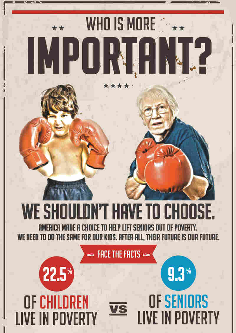 """The nonprofit group Next Generation took out this full-page ad in The Washington Post on Sunday, arguing that """"America made a choice to help lift seniors out of poverty. We need to do the same for our kids."""""""